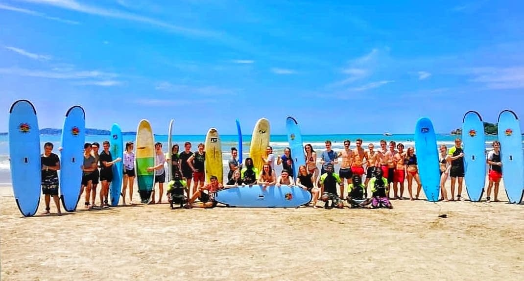 Surfing school group Weligama